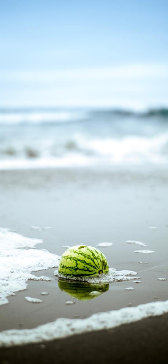 海岸 海浪 沙滩 西瓜 水果