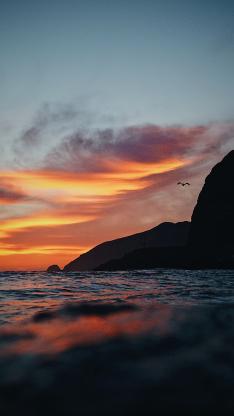 黄昏 夕阳 海岸 景色