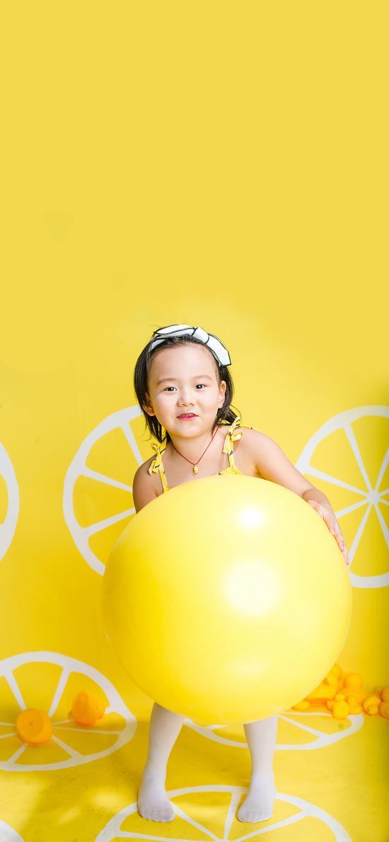 萌娃写真 小女孩 黄色 球