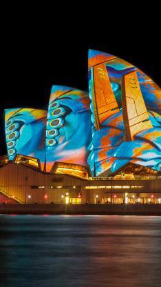 悉尼歌剧院 外景 灯光 水母