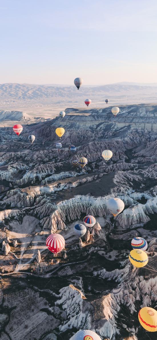 热气球 地貌 俯拍 阳光 喀斯特