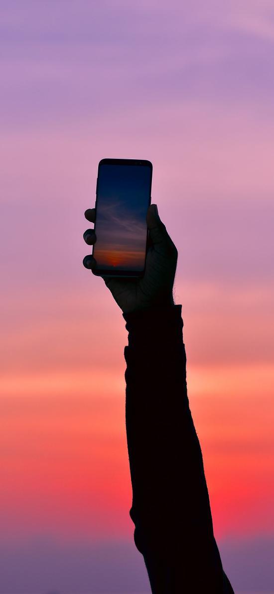 创意 摄影 手机 红霞