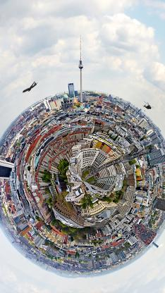 鱼眼镜头 摄影 圆形 城市 建筑