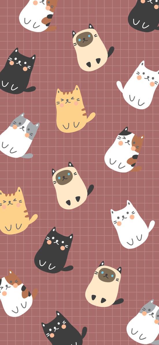 卡通 猫咪 平铺 可爱
