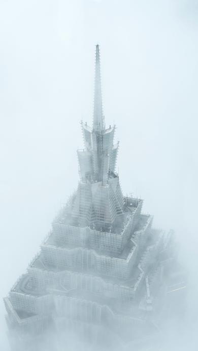东方明珠 建筑 高空 云雾