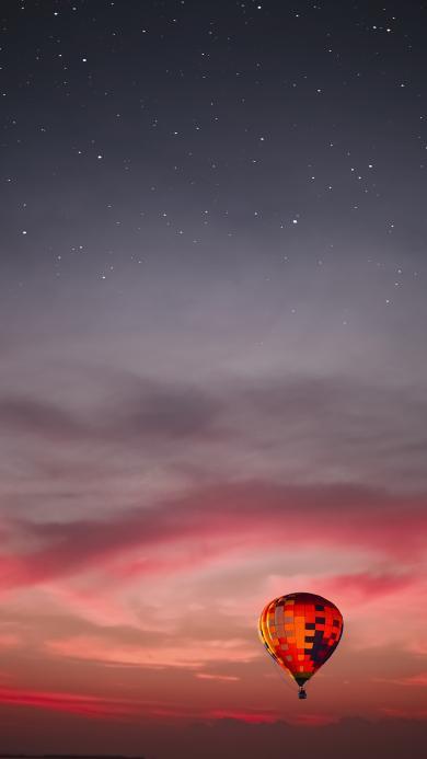 就是 黄昏 热气球 云彩 星星 星空