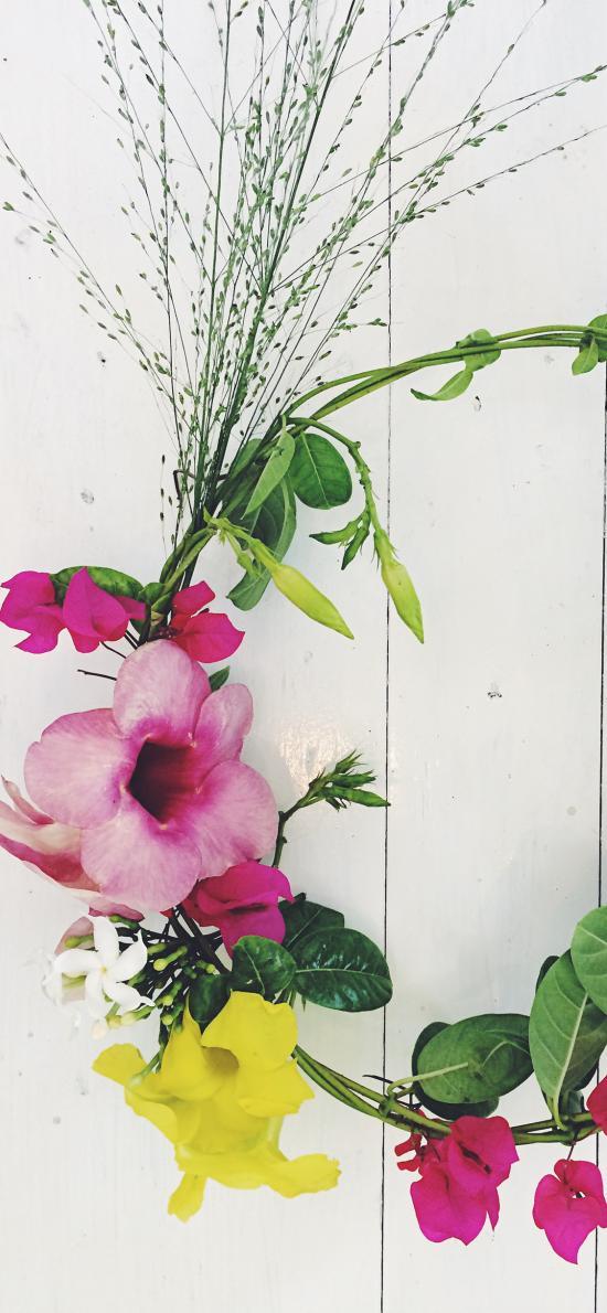 编织 花环 枝叶 圆形 鲜花