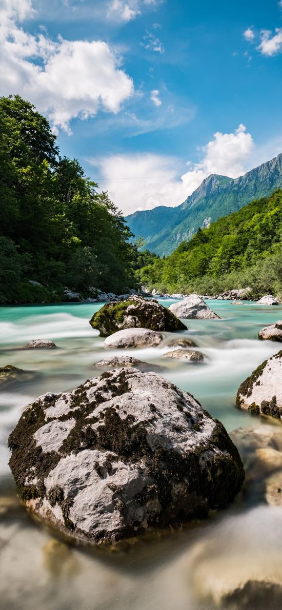 大自然 云层 山峰 河流 岩石