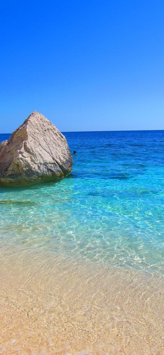 景色 巨石 沙滩 海水