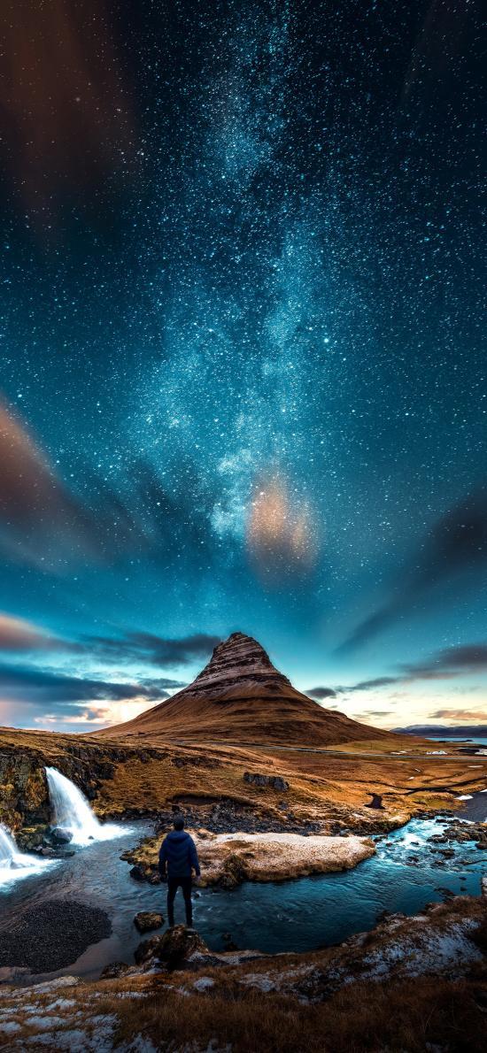 景色 夜晚 星空 璀璨 背影