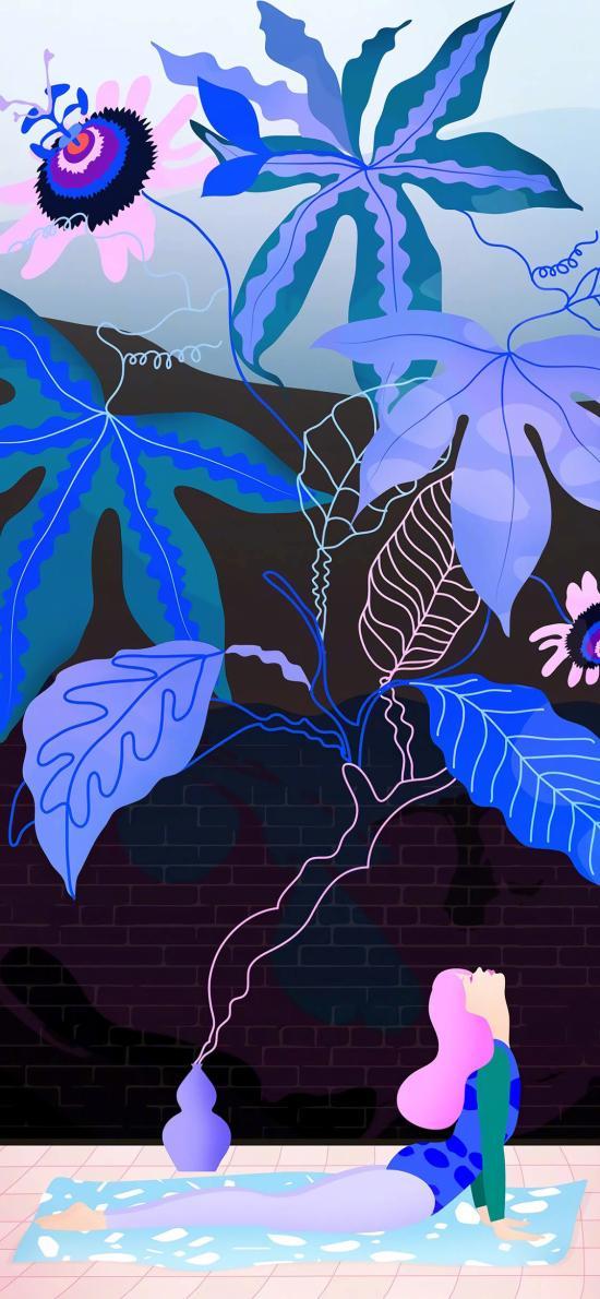 瑜伽 女孩 插画 蓝色 枝叶