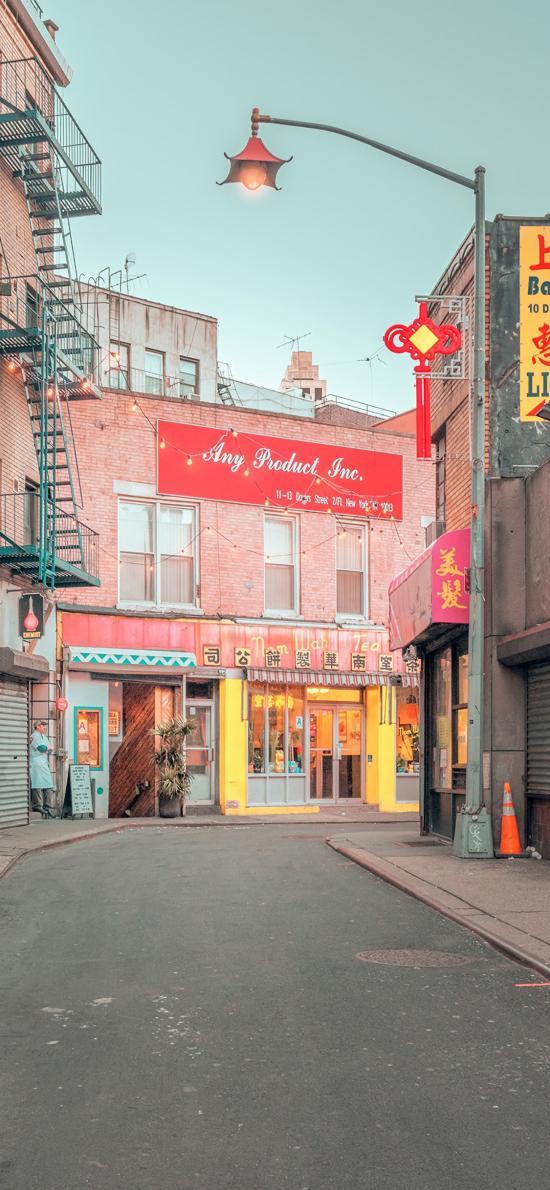 街道 上海 店铺 商店 路灯