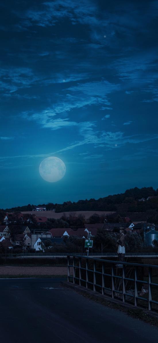 夜 月亮 房屋 城市 小镇