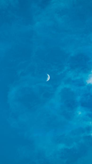 弯月 月亮 天空 悬挂 蔚蓝