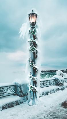 冬季 街灯 冰雪覆盖 照明