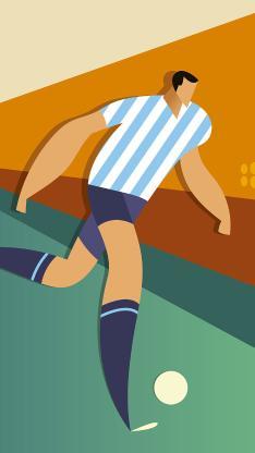 足球 卡通 运动员 平面 色彩 踢球 插画