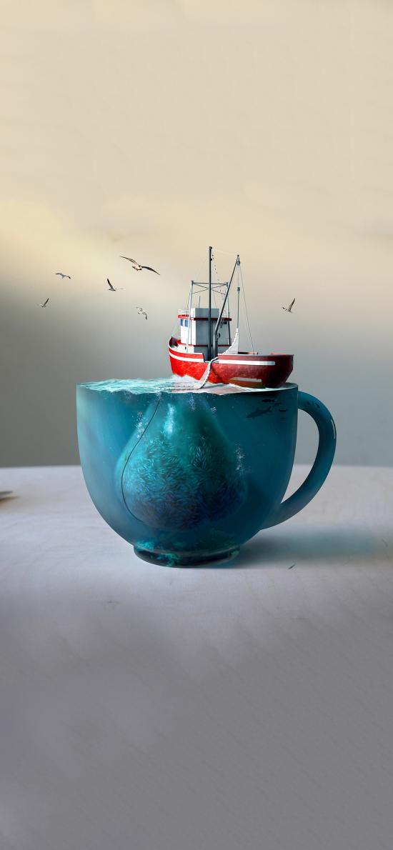 3D模型 杯子 鱼群 航船