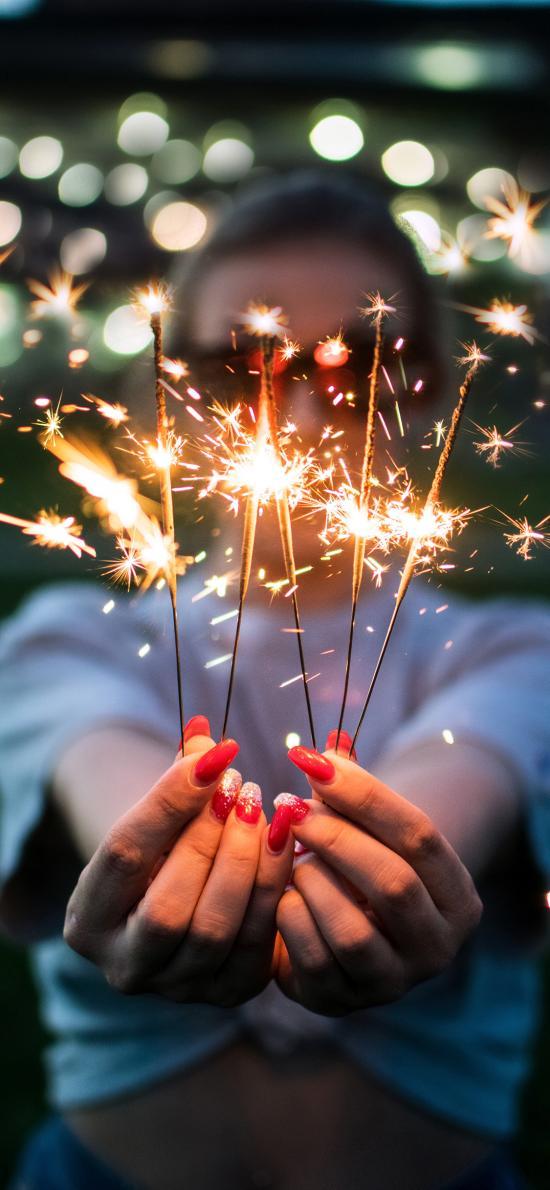 小烟花 点燃 庆祝