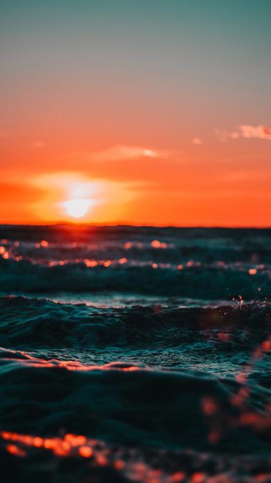 黄昏 日落 夕阳 海水 大海 海面