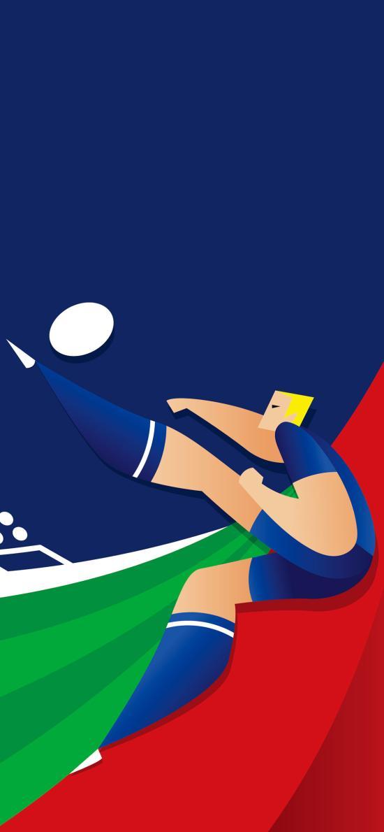 足球 卡通 色彩 运动员 踢球 插画 平面 球门