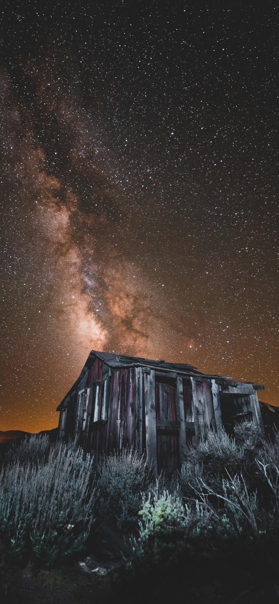 璀璨 夜晚 银河 房屋