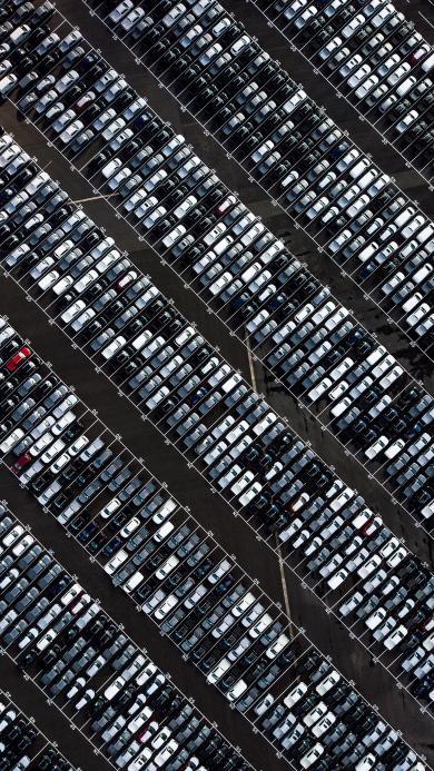 停车场 汽车 停泊 排列 密集