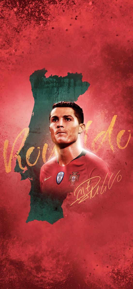 C罗 葡萄牙 足球 运动员 红色