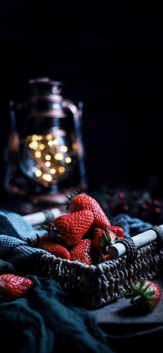 篮子 水果 草莓 香甜