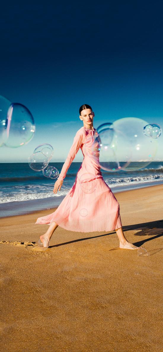 海滩 欧美美女 写真 泡泡