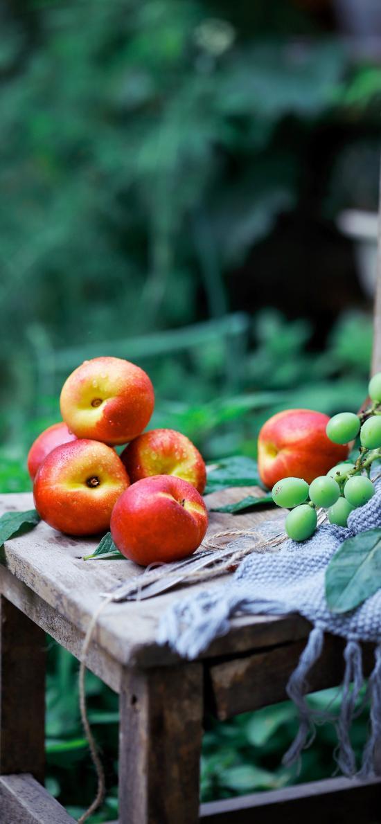 水果 桃子 油桃 青葡萄