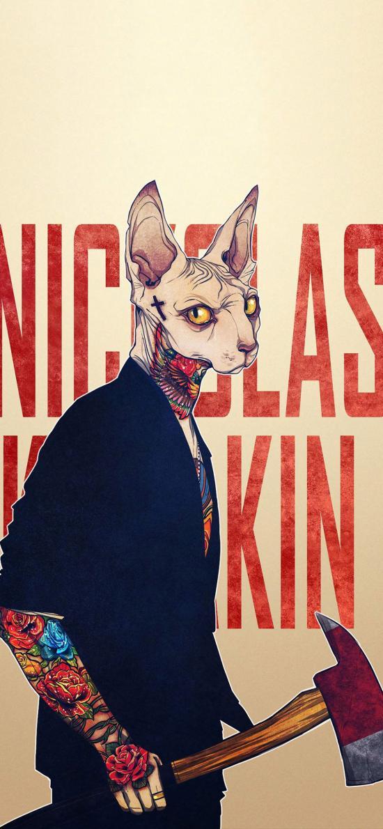 动物插画 加拿大 无毛猫 纹身 斧头
