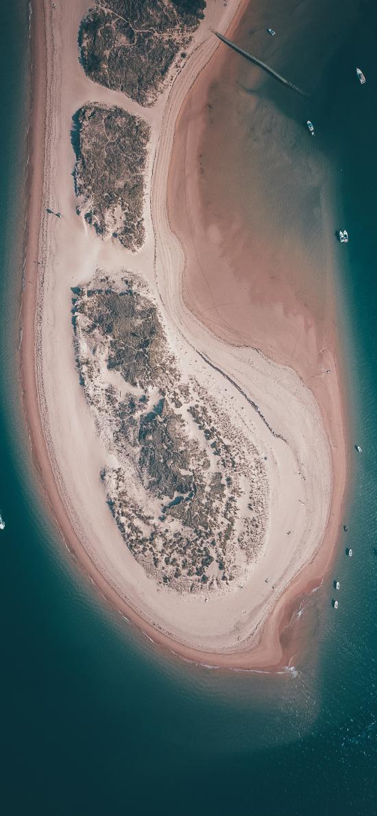 沙洲 大海 环绕 船只