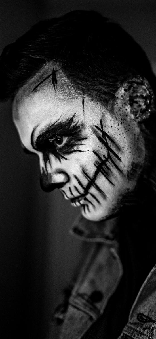 艺术 脸部 妆容 黑白