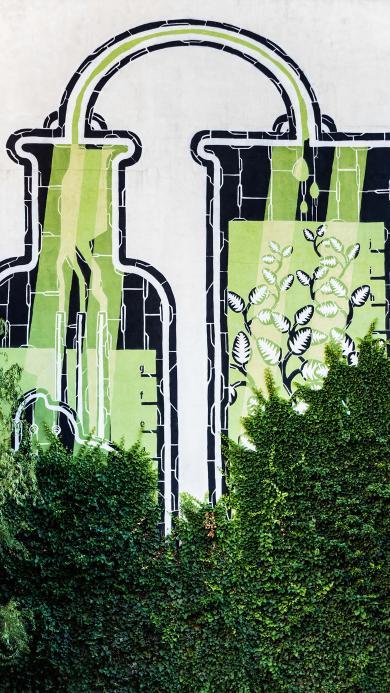 树木 碧绿 壁画 创意