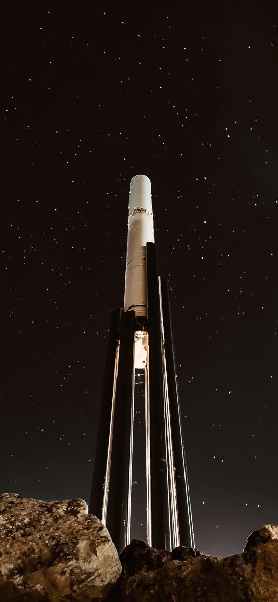 夜晚 星空 火箭发射台