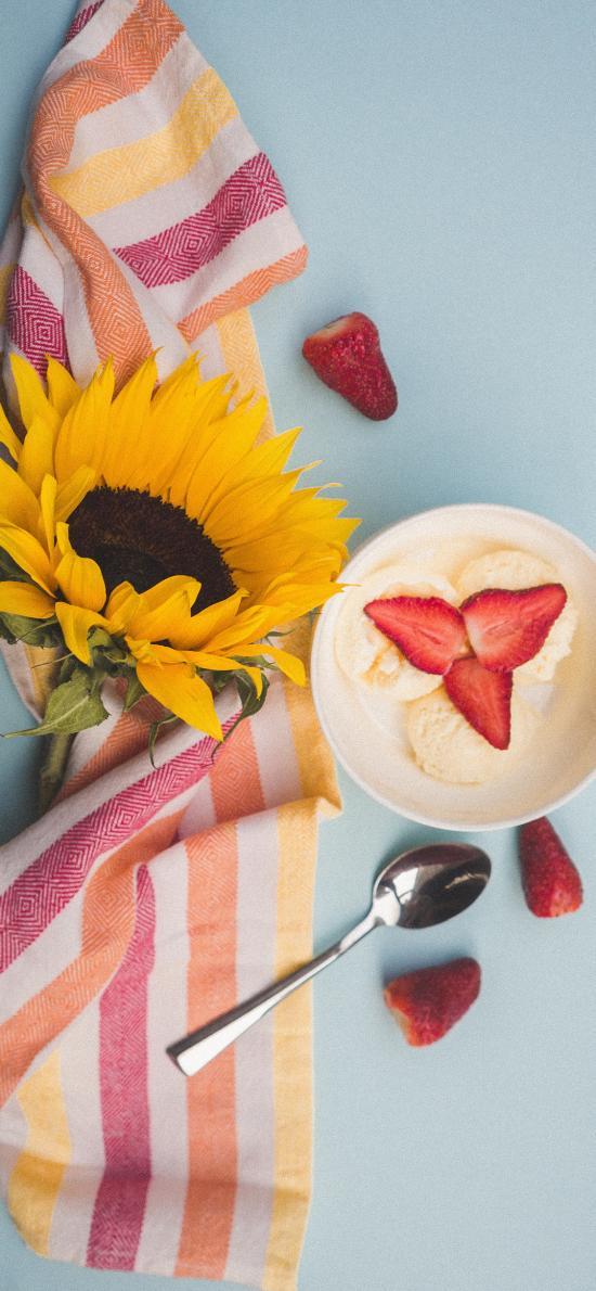 奶昔 水果 草莓 向日葵 香蕉