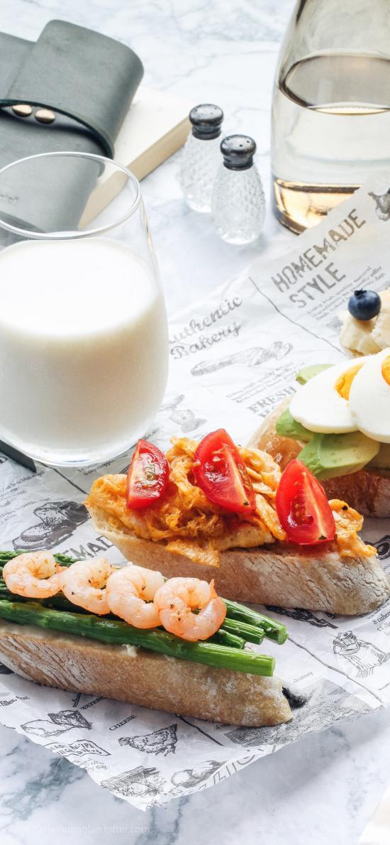 早餐 面包 食物 牛奶 营养 健康
