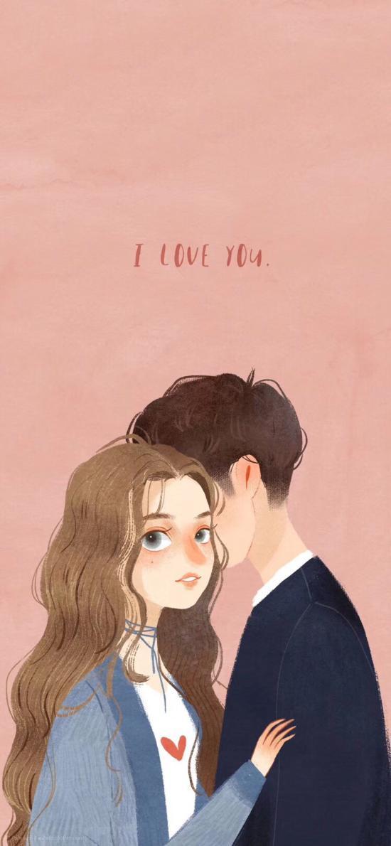 情侣 插画 拥抱 I LOVE YOU