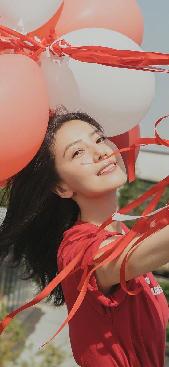 高圆圆 演员 明星 艺人 气球 红色