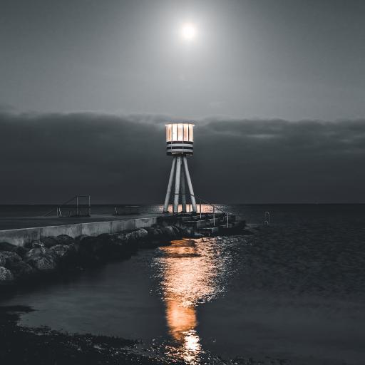 夜晚 海岸 灯塔 信号