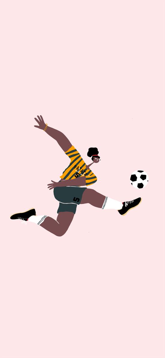 足球 插画 踢球 运动 粉色
