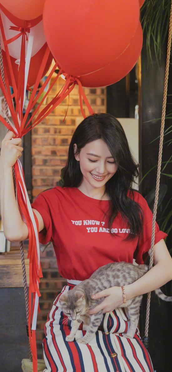 高圆圆 演员 明星 艺人 红色 气球 猫咪