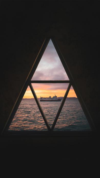 窗户 三角 大海 航船
