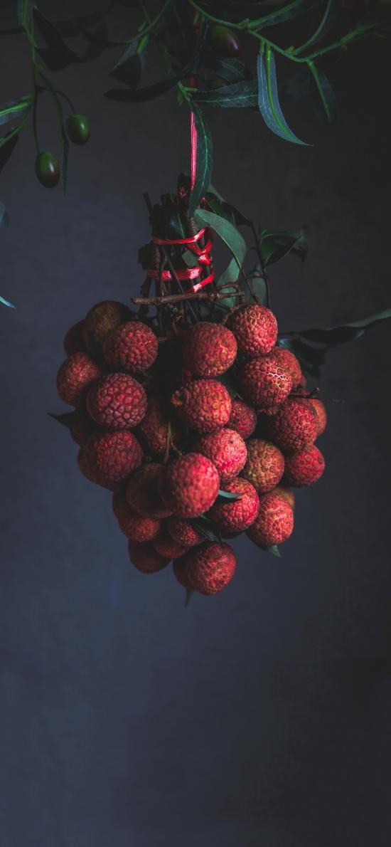 水果 荔枝 热气 悬挂 一串
