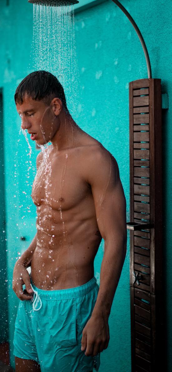 欧美 型男 肌肉 健身 淋浴