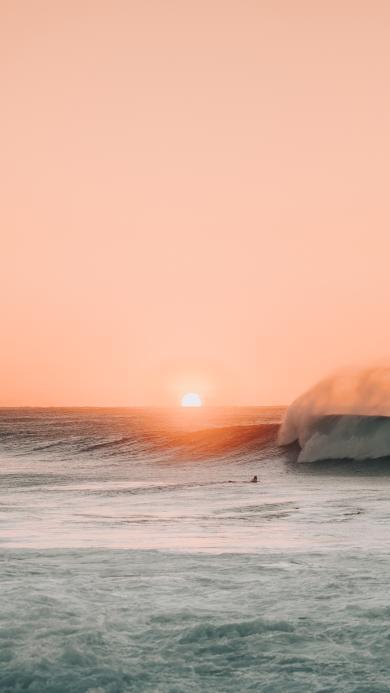 大海 落日 夕阳 海浪 美景
