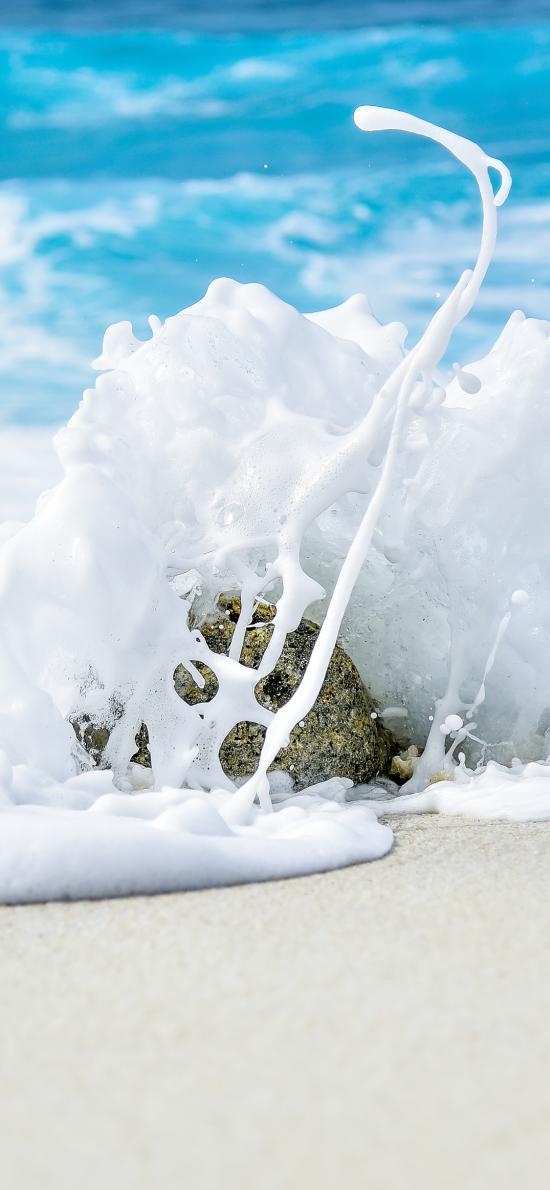 大海 沙滩 海水 石头