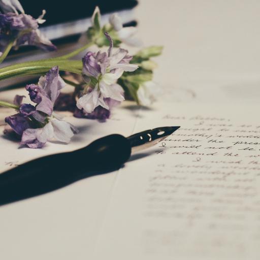 鲜花 紫色 钢笔 书写