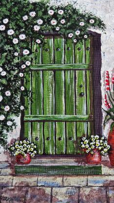 油画作品 木门 鲜花