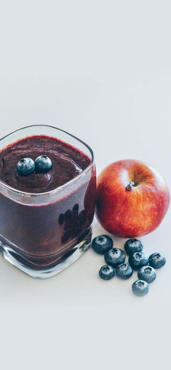 奶昔 苹果 蓝莓 水果